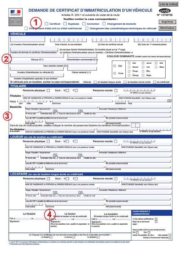 Demande De Certificat D Immatriculation En Ligne D Un Vehicule